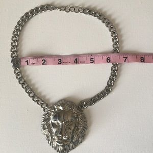 Lion Silver Toned Chain Statement Necklace